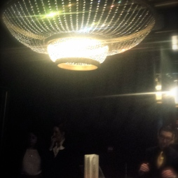 The beautiful chandelier in the bar