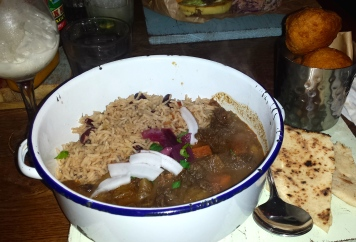 Blue Mountain Curry Goat and Fried Dumplings