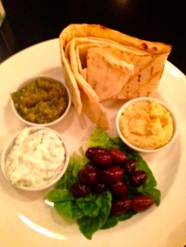 Greek Board, houmous, smoked aubergine, tzatziki & flat breads